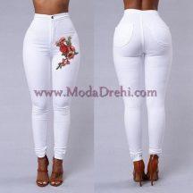 Бял панталон с бродерия