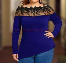 блуза Флори в синьо