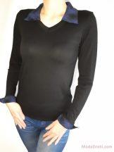 Черна блуза с якичка