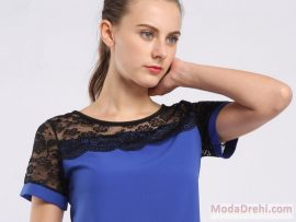 Блуза с черна дантела