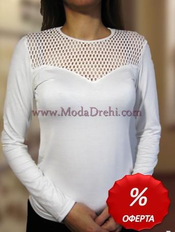 Блуза Бяла с дантела